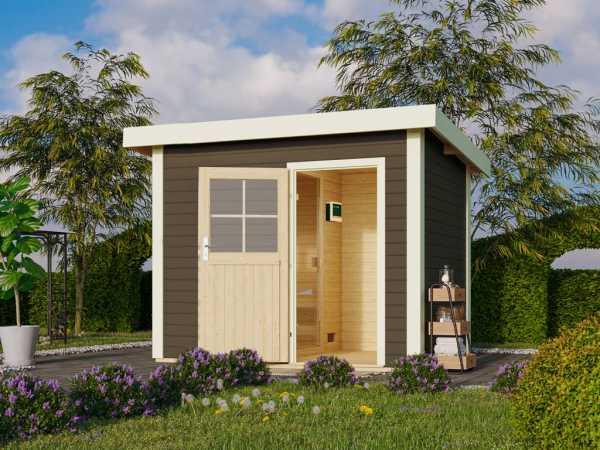 Saunahaus Suva Z Grau mit Holztür, inkl. 9 kW Ofen mit externer Steuerung