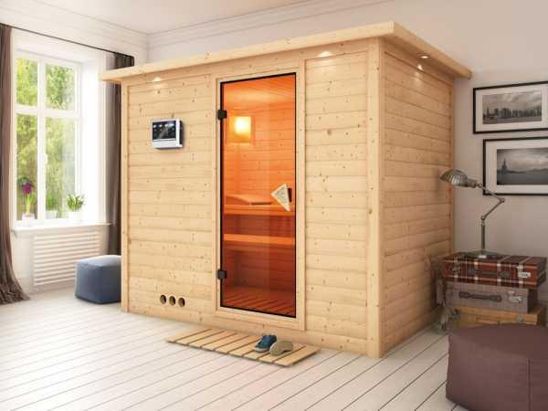 Massivholzsauna Sonara mit Dachkranz, bronzierte Ganzglastür, inkl. 9 kW Bio-Ofen ext. Steuerung