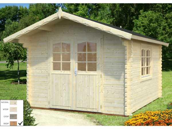 Gartenhaus Blockbohlenhaus Sally 10,2 m² 44 mm braun tauchimprägniert