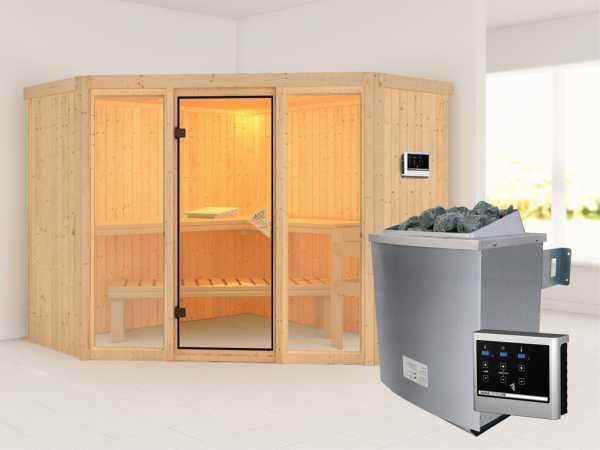 Sauna Systemsauna Flora 2 inkl. 9 kW Saunaofen ext. Steuerung