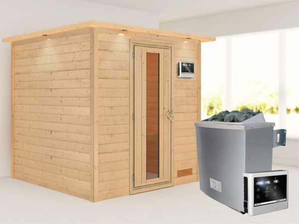 """Sauna Massivholzsauna """"Nora"""" mit Dachkranz, Energiespartür + 9 kW Saunaofen mit ext. Strg"""