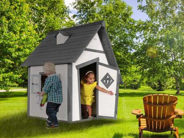 Spielhaus Cabin grau/weiß