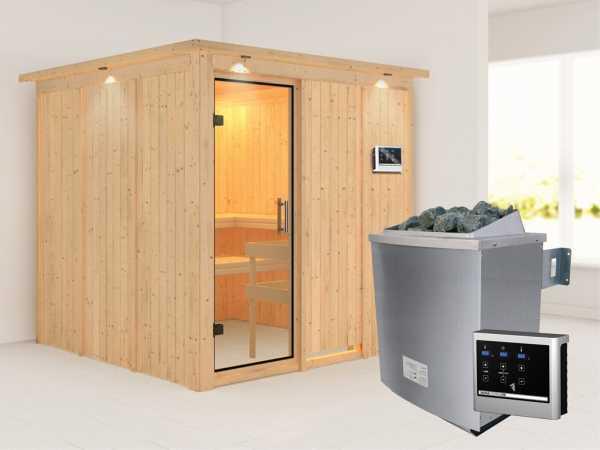 Sauna Systemsauna Rodin mit Dachkranz, Klarglas Ganzglastür + 9 kW Saunaofen mit ext. Strg