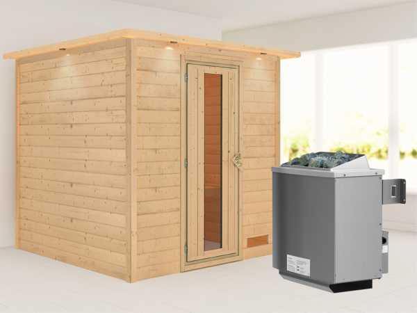 """Sauna Massivholzsauna """"Nora"""" mit Dachkranz, Energiespartür + 9 kW Saunaofen mit Steuerung"""