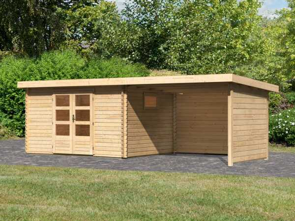 Gartenhaus Blockbohlenhaus SET Trittau 4 38 mm naturbelassen, inkl. 3 m Anbaudach + Seiten-/Rückwand