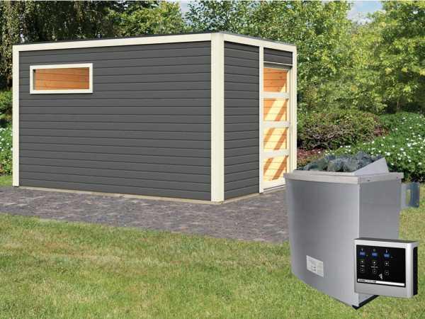 Saunahaus Caleb terragrau + 9 kW Saunaofen ext. Strg.