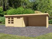 Gartenhaus BBH SET Bastrup 8 28 mm naturbelassen, inkl. 4,0 m Anbaudach + Seiten- und Rückwand