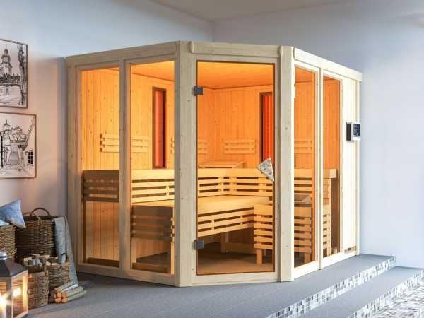 """Multifunktionssauna """"Ava"""" mit bronzierter Glastür + 9 kW Saunaofen ext. Strg."""