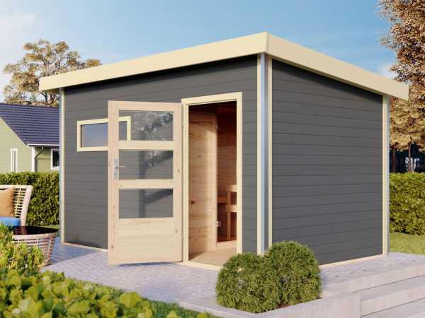 Saunahaus Skrollan 3 mit moderner Tür terragrau + 9 kW Saunaofen integr. Strg.