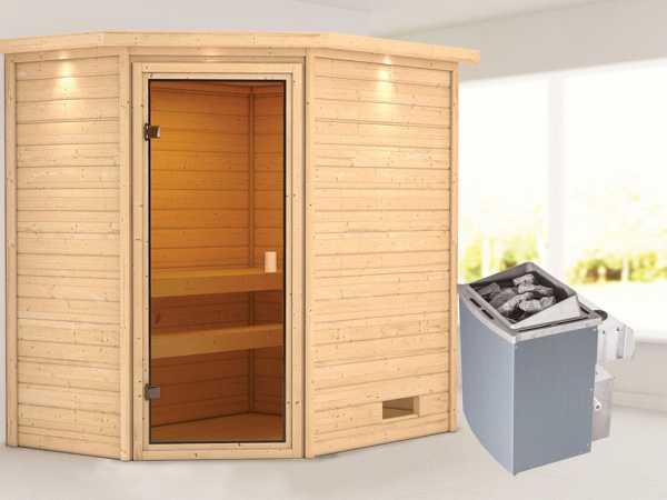 """Sauna """"Jella"""" mit bronzierter Glastür und Dachkranz + 9 kW Saunaofen integr. Strg."""