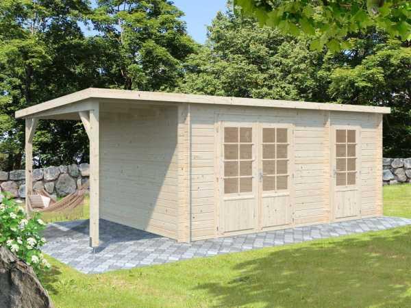 Gartenhaus Blockbohlenhaus Ella 13,1+3,9 m² 28 mm transparent tauchimprägniert