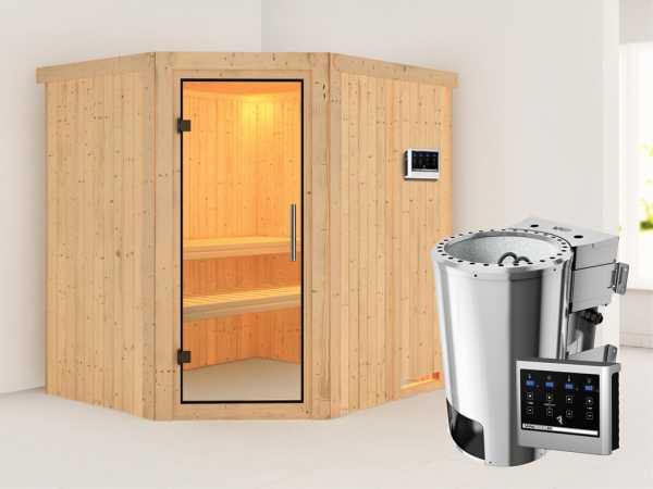 Sauna Systemsauna Lilja Klarglas Ganzglastür + Plug & Play Bio-Ofen mit ext. Strg