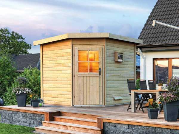 Saunahaus Pirva mit Holztür, inkl. 9 kW Bio-Kombiofen mit externer Steuerung