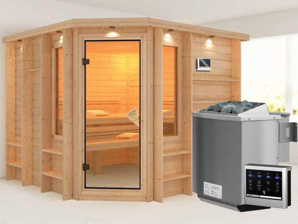 Sauna Massivholzsauna Marona inkl. 9 kW Bio-Kombiofen ext. Steuerung