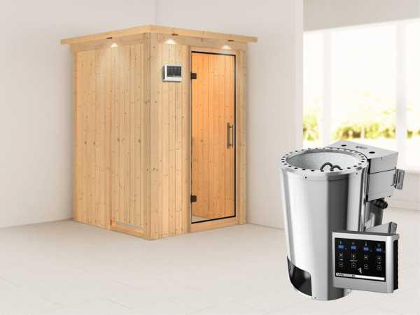 Sauna Systemsauna Lenja mit Dachkranz, Klarglas Ganzglastür + Plug & Play Bio-Ofen mit ext. Strg