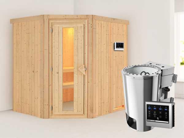 Sauna Systemsauna Lilja Energiespartür + Plug & Play Bio-Ofen mit externer Steuerung