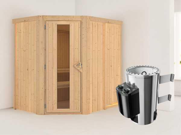Sauna Systemsauna Saja Energiespartür + Plug & Play Saunaofen mit Steuerung