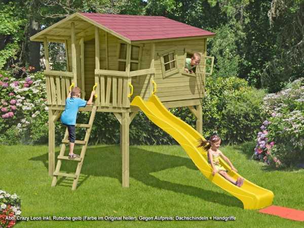 Stelzenhaus Set 2 Crazy Leon inkl. 2,9 m Rutsche gelb + Sandkasten