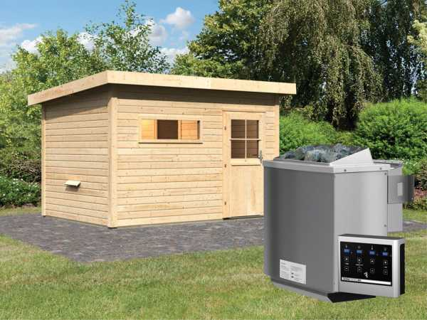 Saunahaus Suva 2 mit Holztür & Vorraum, inkl. 9 kW Bio-Kombiofen mit externer Steuerung