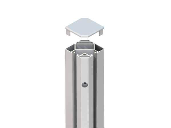 Eck-Klemmpfosten SYSTEM GLAS silber