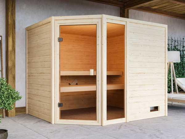 Sauna Lola mit bronzierter Glastür + 9 kW Saunaofen integr. Strg.