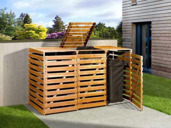 Mülltonnenbox für 3 Tonnen honigbraun imprägniert