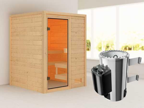 """Sauna """"Sandra"""" mit bronzierter Glastür + 3,6 kW Plug & Play Saunaofen integr. Strg."""