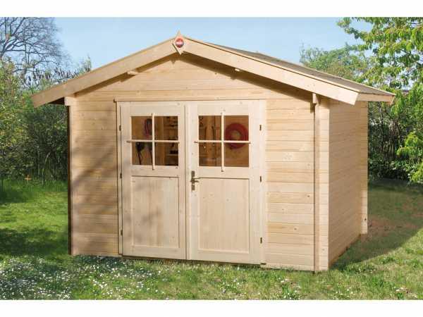 Gartenhaus Premium28 Gr. 7 28 mm natubelassen mit 20 cm Vordach