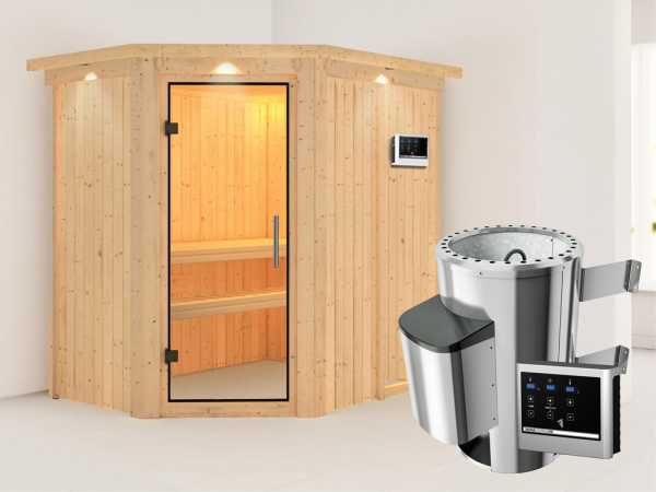 Sauna Systemsauna Saja mit Dachkranz, Klarglas Ganzglastür + Plug & Play Saunaofen mit ext. Strg