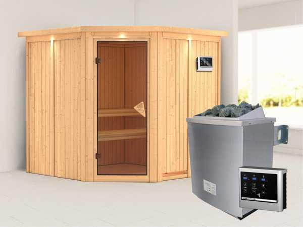 Systemsauna Jarin mit Dachkranz, bronzierte Ganzglastür, inkl. 9 kW Saunaofen ext. Steuerung