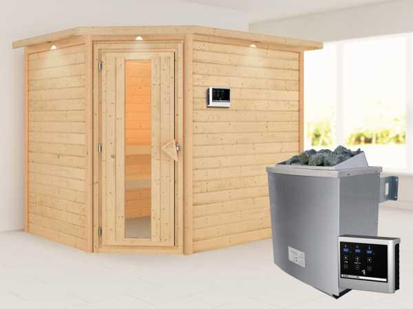 Sauna Lisa mit Energiespartür und Dachkranz + 9 kW Saunaofen ext. Strg.