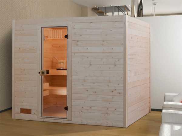 Sauna Massivholzsauna Valida 4 GT klare Ganzglastür