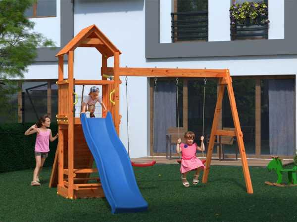 "Spielturm Sparset ""Flatti"" teakfarben, inkl. 2,28 m Rutsche blau"