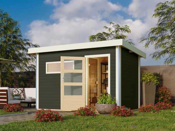 Saunahaus Skrollan 1 Grau mit Klarglastür, inkl. 9 kW Ofen mit externer Steuerung