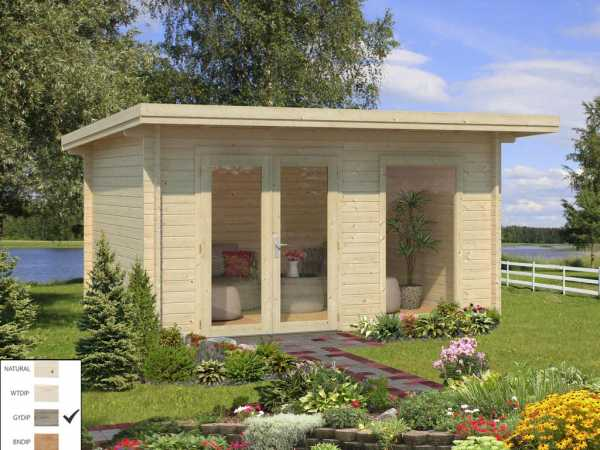 Gartenhaus Blockbohlenhaus Heidi 11,7 m² 44 mm grau tauchimprägniert