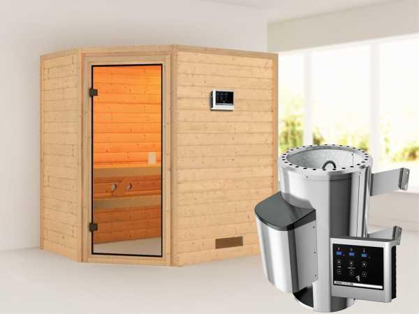 Sauna Jella mit bronzierter Glastür + 3,6 kW Plug & Play Saunaofen ext. Strg.