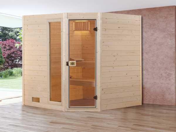 Sauna Massivholzsauna SPARSET 1 Valida Eck 1 GTF inkl. 5,4 kW Ofen integr. Steuerung + Leuchtenset