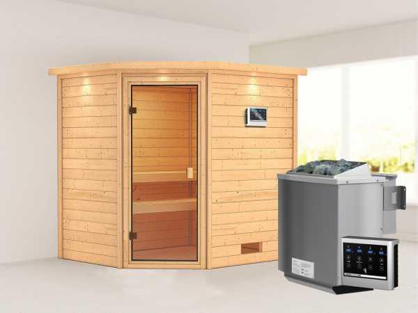 """Sauna """"Elea"""" mit bronzierter Glastür und Dachkranz + 9 kW Bio-Kombiofen ext. Strg."""
