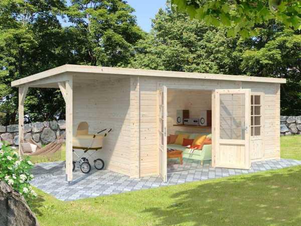 "Gartenhaus Blockbohlenhaus ""Ella"" 13,1+3,9 m² 28 mm naturbelassen"