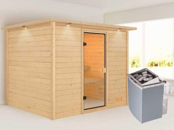 """Sauna """"Katja"""" mit bronzierter Glastür und Dachkranz + 9 kW Saunaofen integr. Strg."""