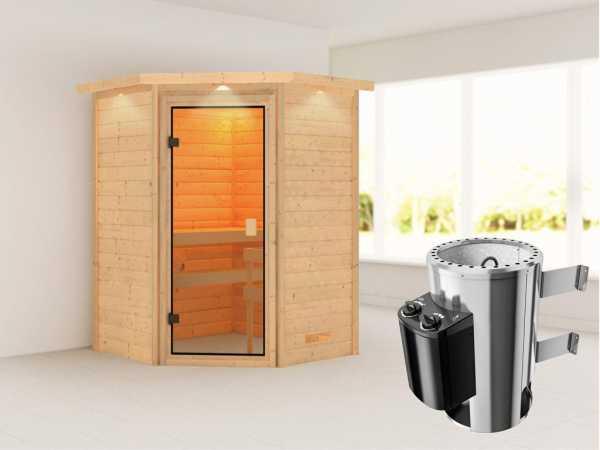 """Sauna """"Antonia"""" mit bronzierter Glastür und Dachkranz + 3,6 kW Plug & Play Saunaofen integr. Strg."""
