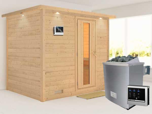 """Massivholzsauna """"Sonara"""" mit Dachkranz, Holztür mit Isolierglas, inkl. 9 kW Ofen ext. Steuerung"""
