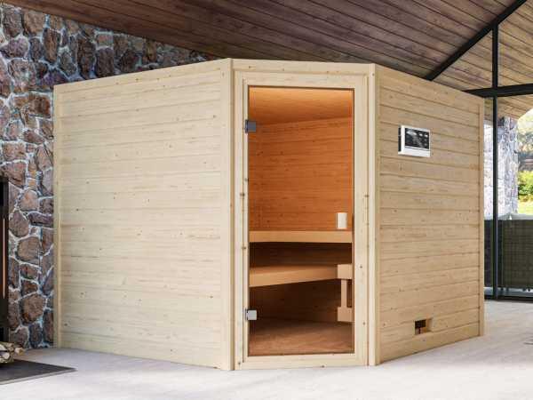 Sauna Dalia mit bronzierter Glastür + 9 kW Bio-Kombiofen ext. Strg.
