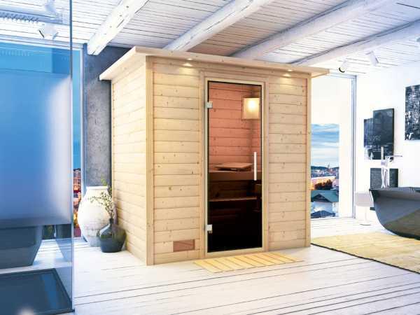Sauna Massivholzsauna Ronja mit Dachkranz, graphit Ganzglastür