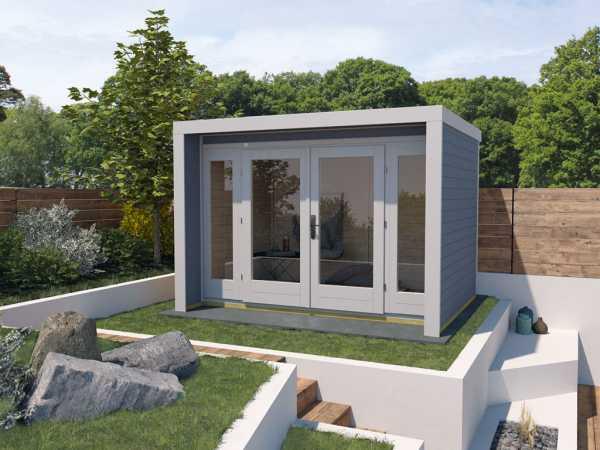 Gartenhaus Designhaus 263 Gr. 2 28 mm grau lasiert