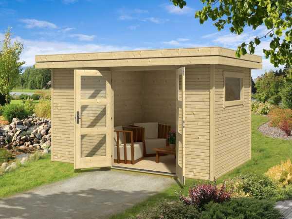 Gartenhaus Blockbohlenhaus Faro 3 28 mm lichtgrau