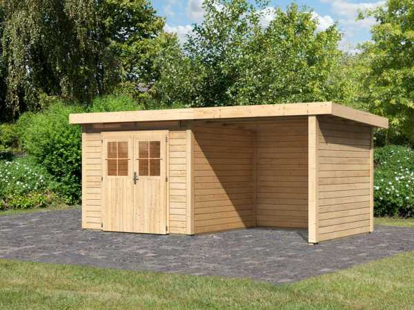 Gartenhaus SET Kerpen 2 CLASSIC 28 mm naturbelassen, inkl. 2,6 m Anbaudach + Seiten-/Rückwand