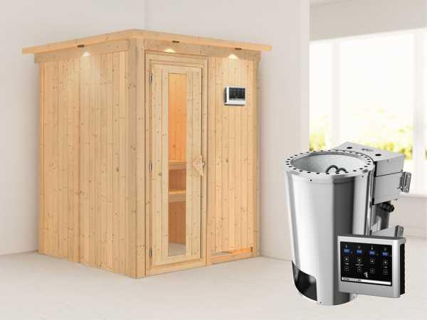 Sauna Systemsauna Minja mit Dachkranz, Energiespartür + Plug & Play Bio-Ofen mit ext. Steuerung