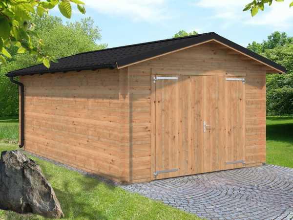 Garage Tomas 19,2 m² mit Holztor 34 mm braun tauchimprägniert