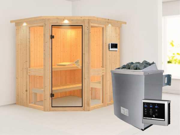 """Sauna Systemsauna """"Amelia 1"""" mit Dachkranz, inkl. 9 kW Saunaofen ext. Steuerung"""